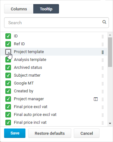 customize the project listing columns
