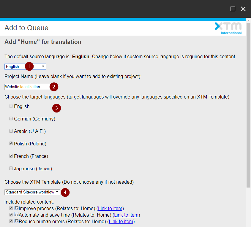Requesting translation - Send content from Sitecore