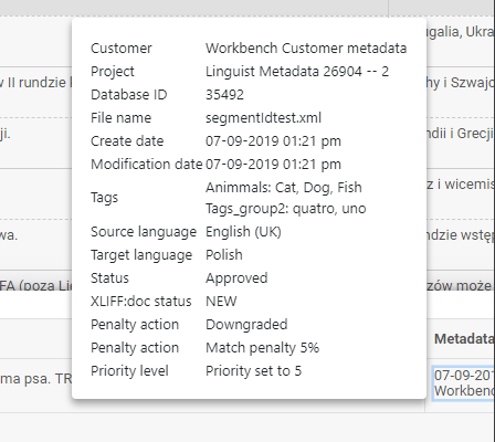 xtm workbench matches - metadata