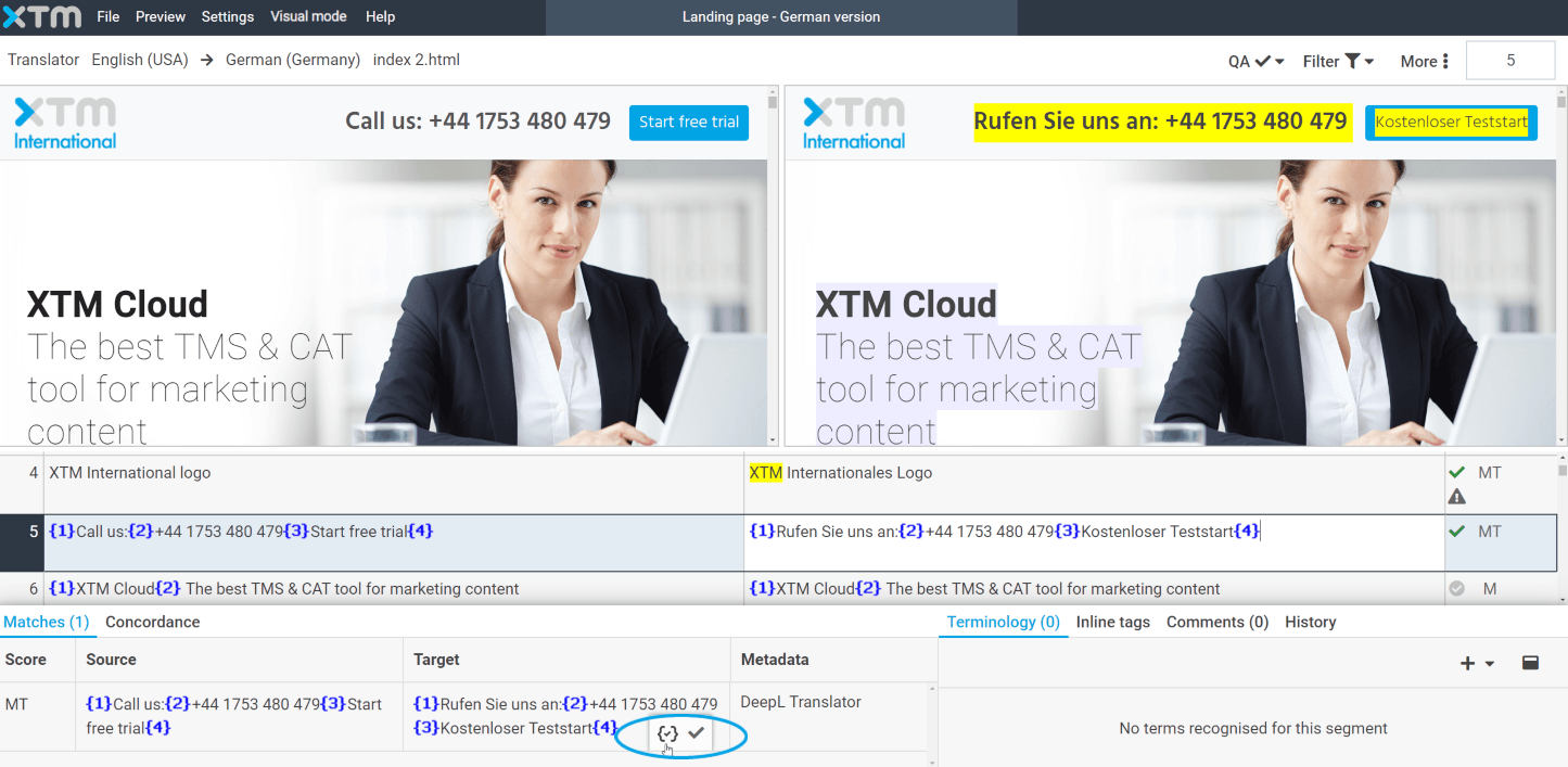 XTM Visual Editor - machine translation with inlines