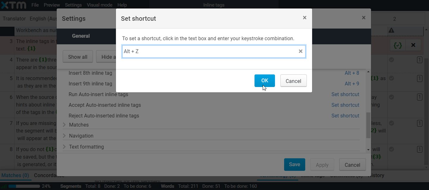 How to set shortcuts for auto-inserted inline tags
