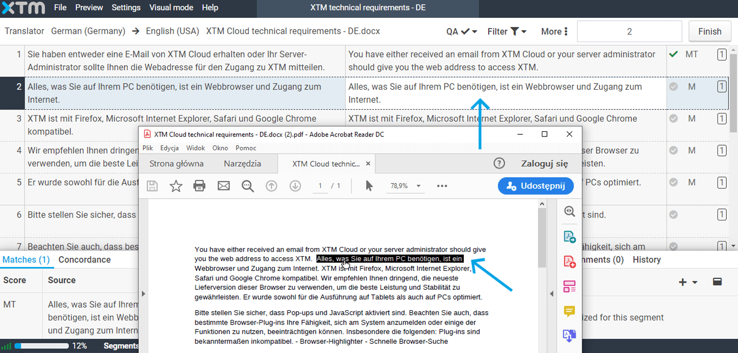 PDF interactive previews for MS Word in XTM Cloud