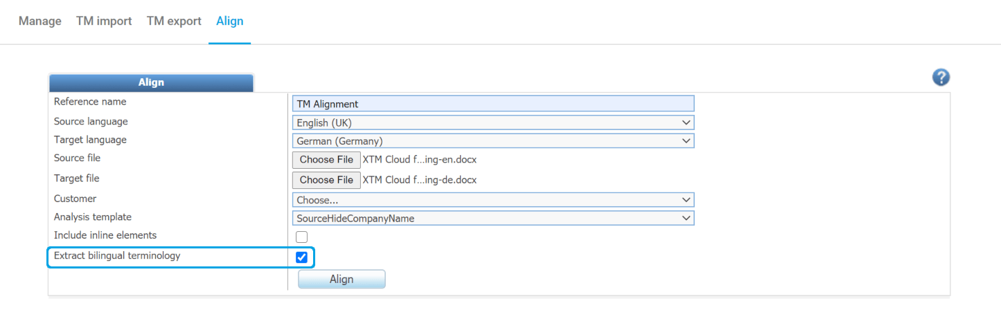 Bilingual term extraction in XTM Cloud